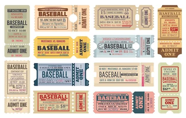 Ingressos antigos no jogo de beisebol.