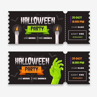Ingressos com tema de halloween em design plano