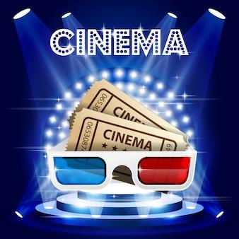 Ingressos de cinema e pôster de óculos 3d