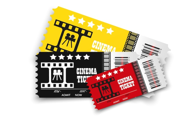 Ingressos de cinema isolados em fundo transparente ingresso de cinema realista