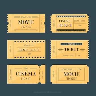 Ingressos de cinema no estilo retro