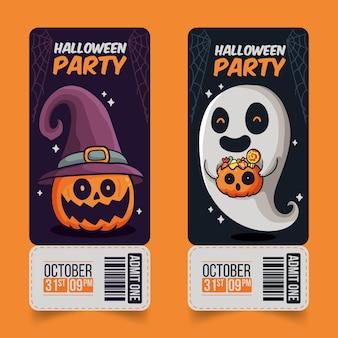 Ingressos de halloween com design desenhado à mão