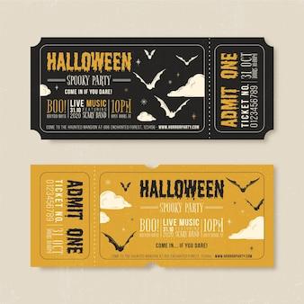 Ingressos de halloween com design vintage