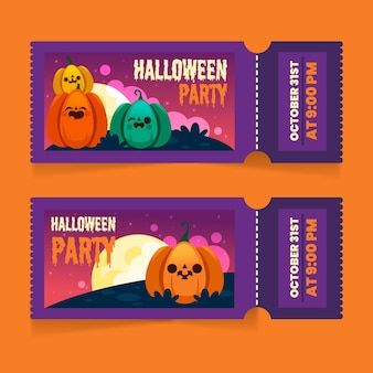 Ingressos de halloween de design plano