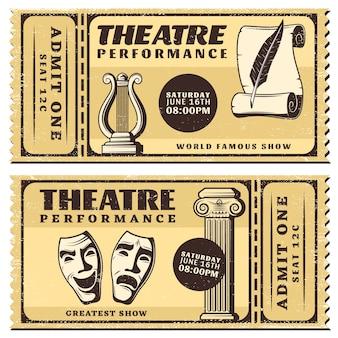 Ingressos horizontais de apresentação de teatro vintage