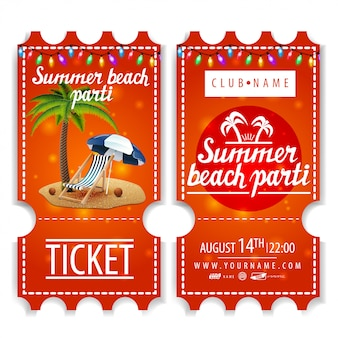Ingressos para a festa de verão na praia