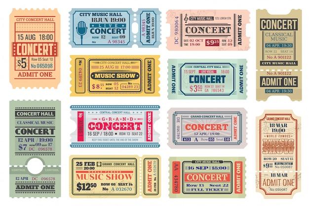 Ingressos retrô para concertos de música, admite conjunto de modelos
