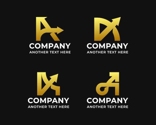Iniciais da letra a com designs de logotipo de seta