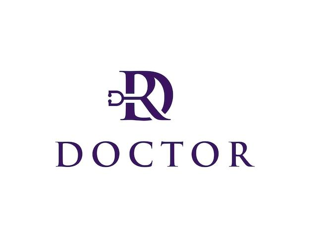 Iniciais da letra dr com estetoscópio simples, elegante, criativo, geométrico, moderno, logotipo