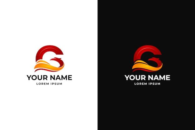 Iniciais da letra g com design de logotipo eagle
