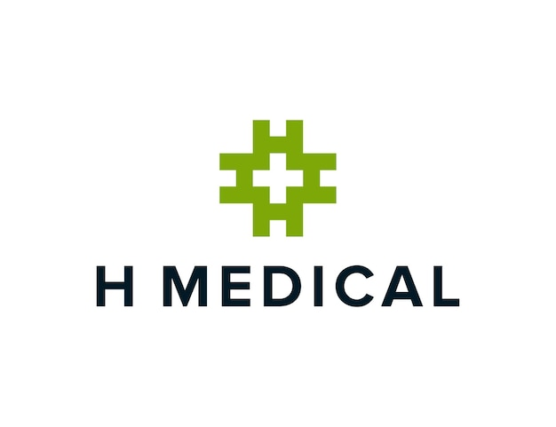 Iniciais da letra h, rotação e símbolos médicos cruzados simples, criativo, geométrico, moderno, logotipo, design