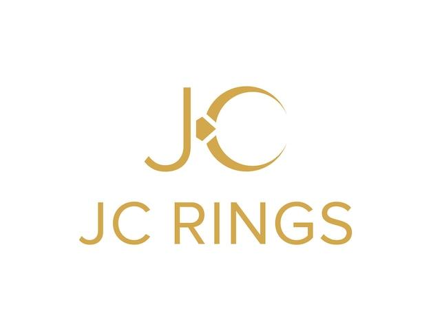 Iniciais da letra jc e anéis simples, elegante, criativo, geométrico, moderno, logotipo