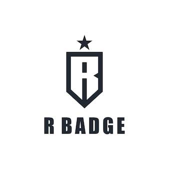 Iniciais da letra r com distintivo e estrela simples, elegante, criativo, geométrico, moderno, logotipo