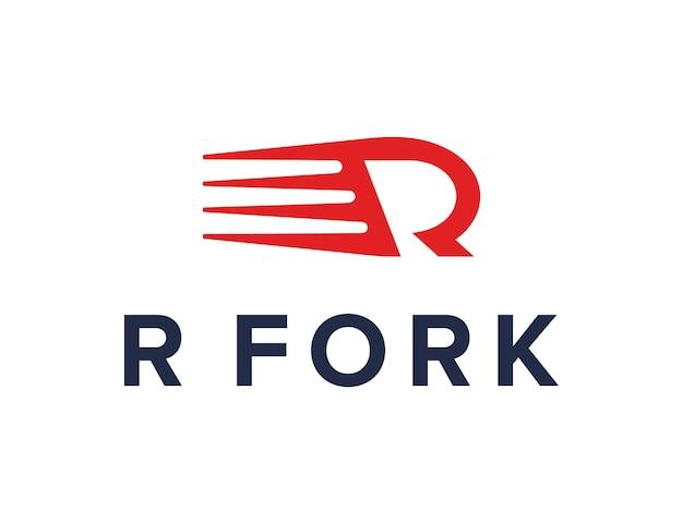 Iniciais da letra r garfo simples, elegante, criativo, geométrico, moderno, logotipo, design