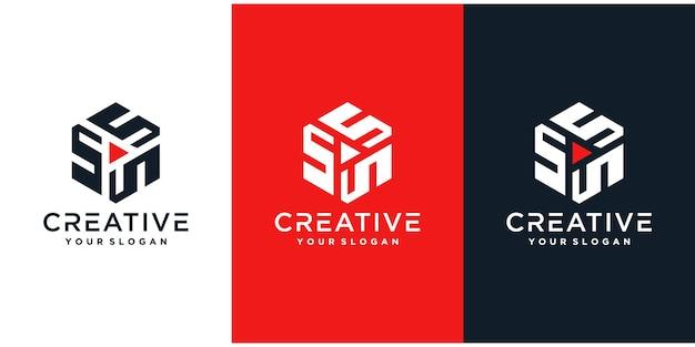 Iniciais do logotipo abstrato com estilo hexágono.