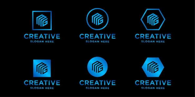 Iniciais do modelo de design de logotipo mg
