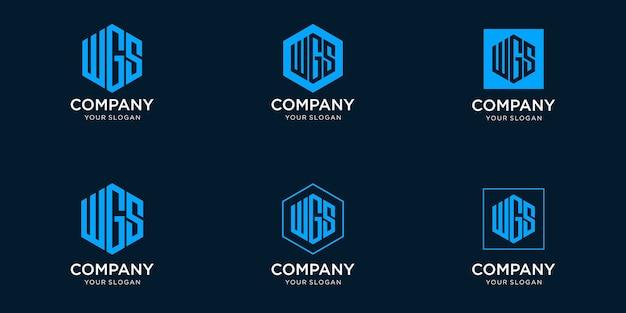 Iniciais do modelo de design de logotipo w gs