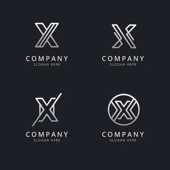 Iniciais x linha modelo de logotipo de monograma com cor prata estilo para a empresa
