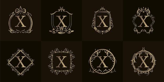 Inicial do logotipo x com ornamento de luxo ou moldura de flor, coleção definida.
