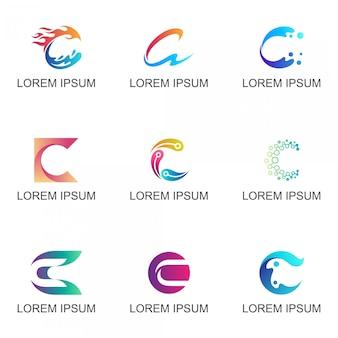 Inicial, letra, c, negócio, logotipo, jogo