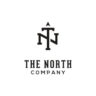 Inicial / monograma tn para o logotipo norte