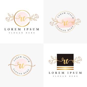 Inicial re modelo de coleções de logotipo feminino.