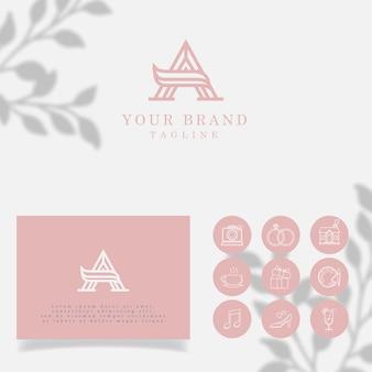 Inicial, um modelo editável de logotipo minimalista