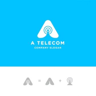 Inicial uma carta para o logotipo da antena do sinal da torre e a onda do sinal de rádio