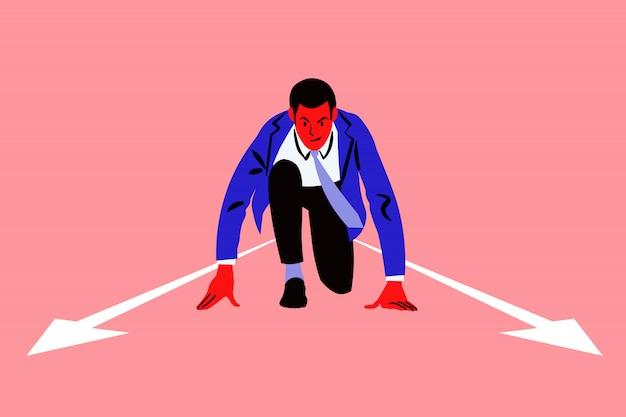 Inicialização, caminho, desafio, conceito de negócios da concorrência.