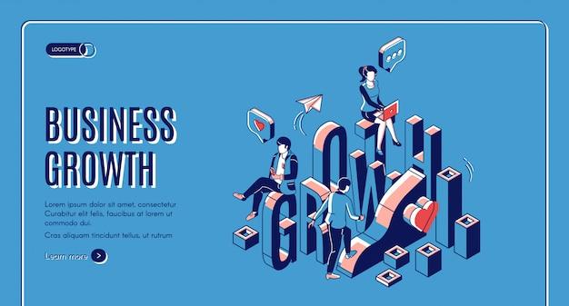 Inicialização de crescimento de negócios impulsionar pouso isométrico