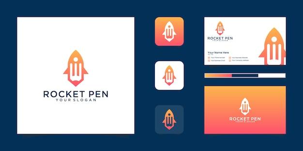 Inicialização de foguete de lápis, artista de gênio de energia criativa ou er, e logotipo ou ícone de criatividade, inicialização de arte. e cartão de visita