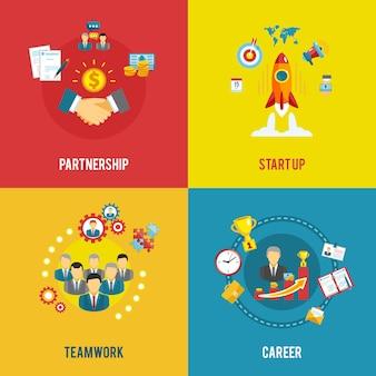 Inicialização de negócios 4 ícones lisos quadrados Vetor grátis