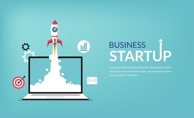 Inicialização de negócios, lançando produtos com símbolo de foguete.