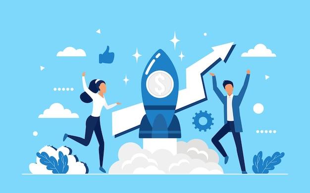 Inicialização de negócios, trabalho em equipe de sucesso no conceito de foguete de lançamento