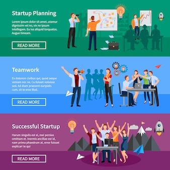 Inicialização de sucesso 3 banners horizontais plana web design de página com o planejamento de produtos inovadores e chá