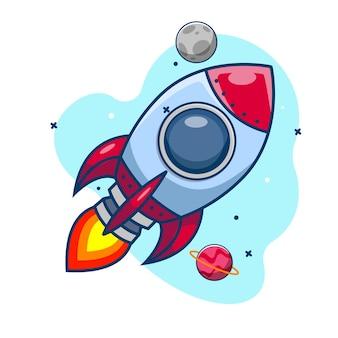 Inicialização do foguete espacial foguete em design plano no fundo do céu.