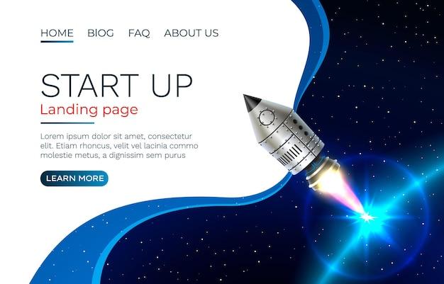 Iniciar ideia tela da página de destino, tecnologia de desenvolvimento, foguete.