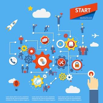 Iniciar ilustração vetorial de infográficos de diagrama de processo de negócios