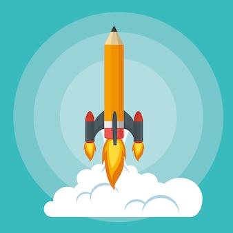 Iniciar lançador foguete de lápis