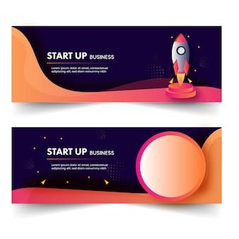 Iniciar negócios banner ou design de cabeçalho com ilustração de foguete em duas opções.