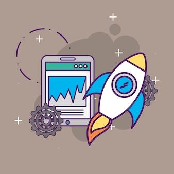 Iniciar negócios foguete smartphone site gráfico gráfico