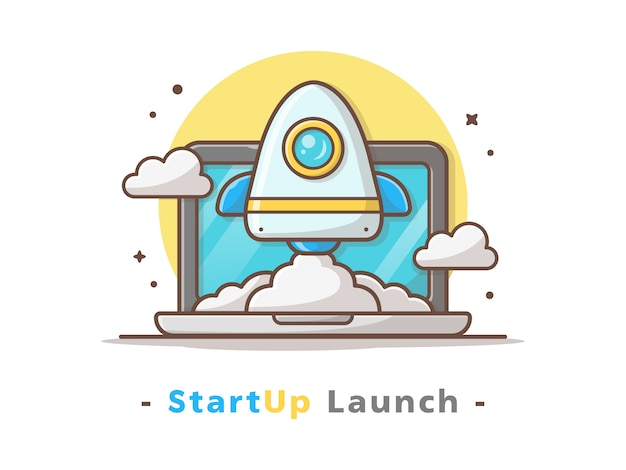 Iniciar o lançamento de foguete com laptop e ilustração vetorial de nuvem