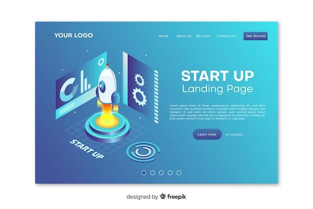 Inicie a página de destino com design plano