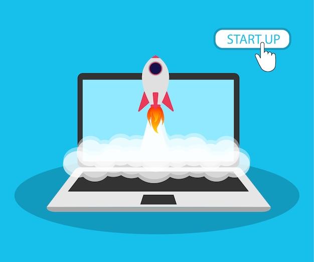 Inicie em um laptop. botão de início.