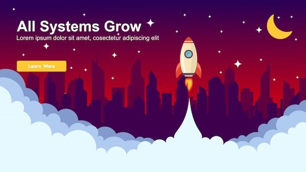 Inicie o design de web do simple rocket