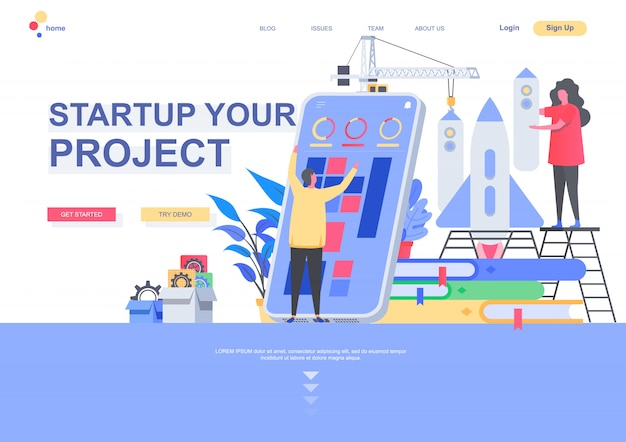 Inicie o modelo de página de destino plana do projeto. nova fundação de inicialização, geração de idéias de negócios e situação de desenvolvimento. página da web com caracteres de pessoas. ilustração de solução de inovação.