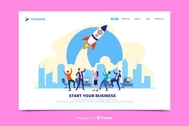 Inicie sua página de destino da inicialização do negócio