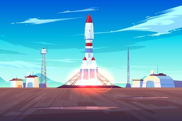 Início da espaçonave, decolagem de um foguete pesado, lançamento de satélite ou estação internacional na terra