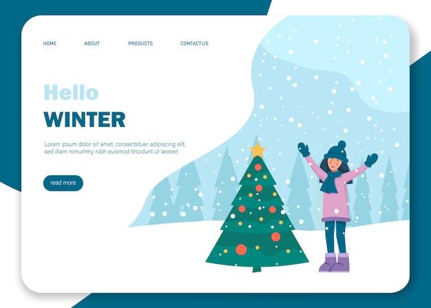 Início do inverno. a garota se alegra na neve.