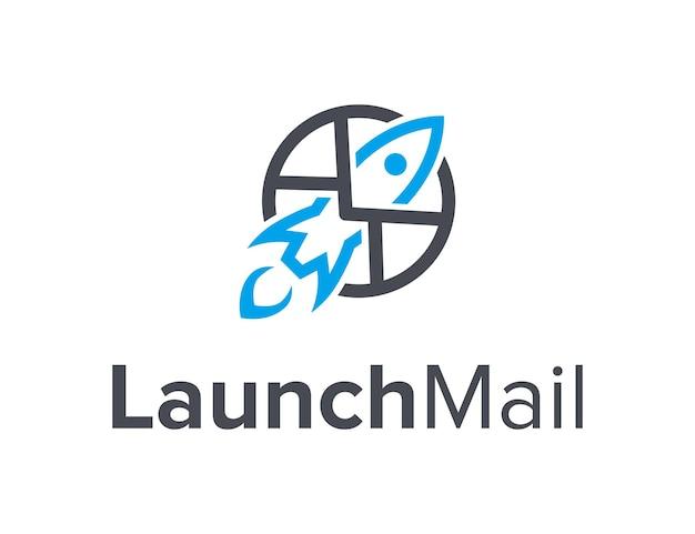 Início do lançamento de foguete e círculo de correio simples, elegante, criativo, geométrico, moderno, design de logotipo